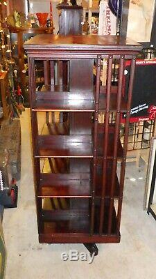 Antique Late 1800's John Danner Post Revolving Bookcase Library 61 Tall RARE