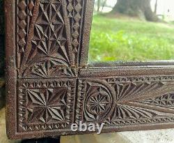 Antique Late 1800's Pennsylvania German Chip Carved Poplar Framed Mirror