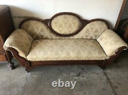 Antique Late 1800s- Early 1900s Sofa / Couch On Wheels