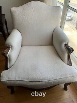 Antique Late 1800s French carved Louis XV Bergere, Chair, Armchair