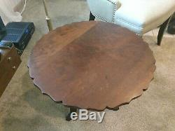 Antique Late 1800s Round Occasional / End Table Scolloped Edge Cast Iron Legs