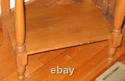 Antique Late 1800s Vintage Early American Wooden Pine Washstand Side Table