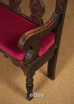Antique Late 19th. C. Carved Oak Settle or Hall Bench c. 1890