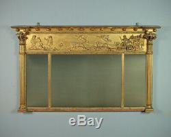 Antique Late 19th. C. Triple Plate Gilt Overmantle Mirror c. 1880
