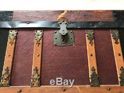 Antique Late 19th Century Doll Steamer Trunk With Original Interior Insert Tray