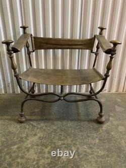 Antique Late 19th Century Italian Iron Savonarola Dante Throne Chair