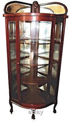 Antique Late 19th Century Mahogany Mirrored Corner China Display Case