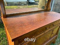 Antique Late 19th Century Tiger Stripe Empire Buffet Sideboard Mirror Shelf