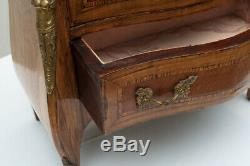 Antique Late 19th c. Louis XV Style Miniature Kingwood Bombay Commode / Chest
