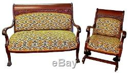 Antique Late 19th c. Rosewood Upholstered Settee & Rocker Set