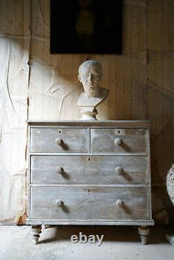 Antique Late 19thC Bleached Pine Chest of Drawers c. 1900