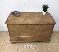 Antique Late Georgian Stripped Pine Mule Chest Blanket Box Trunk