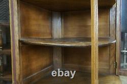Antique Late Victorian Canadian Oak Corner Display Curio Cabinet