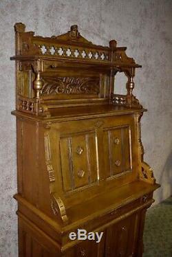 Antique Late Victorian Eastlake Style Carved Slant Front Desk