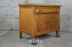 Antique Late Victorian Empire Maple Ball & Claw Foot End Table Chest Nightstand