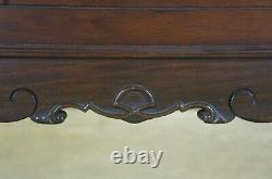 Antique Late Victorian Full Size Walnut Bed Curved Footboard Burled Accents