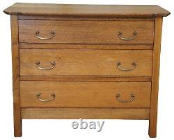 Antique Late Victorian Paneled Oak Chest of Drawers Dresser Nighstand 33