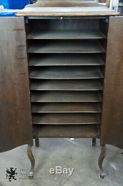 Antique Late Victorian Queen Anne Sheet Music Record Cabinet 2 Door