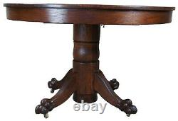 Antique Late Victorian Round Oak Claw Foot Pedestal Dining Table 45
