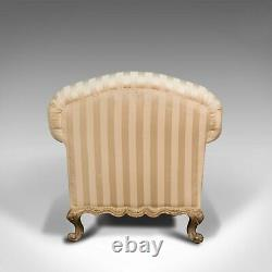 Antique Lounge Armchair, French, Textile, Beech, Tub Seat, Late Victorian, 1900