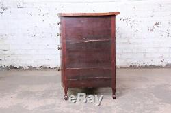 Antique Mahogany Double Bow Front Eight-Drawer Dresser, Late 19th Century
