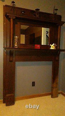 Antique Mantle with mirror (late 1800's)