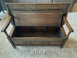 Antique Monks Bench Table Storage, Late 1800s, Revival, Linen Fold Design