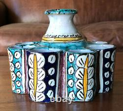 Antique Moroccan ceramic inkwell or paint, late 19th or early 20th century