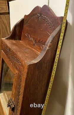 Antique Oak Medicine Cabinet withSpoon Carved Eastlake Design Circa Late 1800's