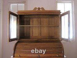 Antique Oak RollTop Desk with Bookcase, Drawers, File Slots, Cubbies Late 1800s
