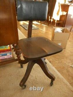 Antique Office Chair Cook Quality Wood Steampunk late 19th Century Steampunk