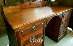 Antique Original Georgian Slant Top Walnut Knee Hole Desk Circa Late 17th C