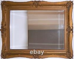 Antique Ornate Gold Leaf Mirror Hand Carved Wood Antique Stacked Frame Late