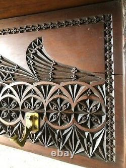 Antique Scandinavian Denmark Carved Hanging Rack 8 Brass Hooks Late 19th Century