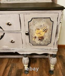 Antique Sideboard Buffet Late 1880s Beautiful Painted