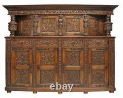 Antique Sideboard, Renaissance Revival Carved Oak Cupboard, Late 1800's