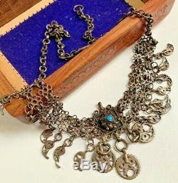 Antique Silver Filigree late Ottoman Headdress Piece Necklace Anatolian