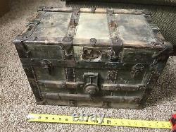 Antique Small Steamer Half Trunk Late 19th Century Train Stagecoach 18 x11x13
