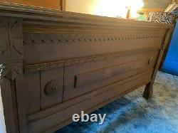Antique Solid Oak Eastlake Victorian Child Bed with custom Mattress late 1800s