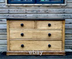 Antique Solid Oak Late Victorian Early Edwardian Ebonized Chest Of Drawers