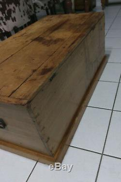Antique Solid Pine Hand Dovetailed Blanket Chest Trunk, Late 1800's