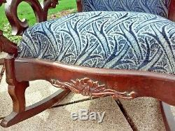 Antique Victorian Upholstered Rocking Chairs Late 19th Century Am/Ger Made VGC
