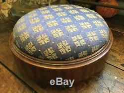 Antique Vintage English Victorian Late 1800s Foot Stool Blue & Cream Fabric