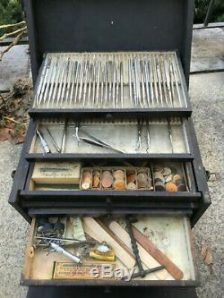Antique Vtg Dental Tool Box and Contents Organizer Late 1800 Early 1900s Dentist