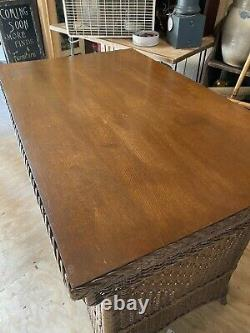 Antique Wicker Library Table Tiger Oak Glass Top Gorgeous late 19th early 20th c