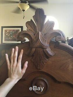 Antique Wood Bed Hand Carved W Fleur De Lis Crest Circa Late 19ty C/Early 20th C