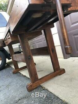 Antique Woodworkers Workbench Late 1800s, Restored, Kitchen Island Industrial