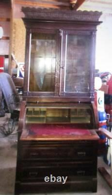 Antique late 1800's walnut secretary bookcase cylinder roll top desk gorgeous