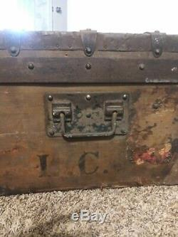 Antique late 1800s Louis Vuitton Cabin Trunk Steamer #37702 Trianon Canvas