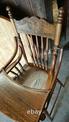 Antique solid Oak baby High Chair Late 1800's Wonderful Condition